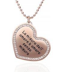 """collana in acciaio rosato e strass """"la misura dell'amore è amare senza misura"""" per donna"""
