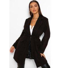 belted pocket detail wool look coat, black