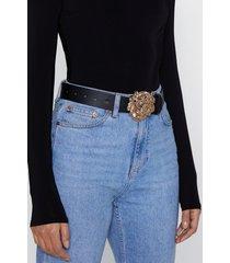 womens one size faux leather lion pendant buckle belt - black