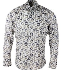 sonrisa luxury shirt in soft, precious and very fine stretch cotton flower with french collar in patterned circles style print in contrasting color