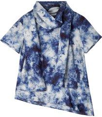 batik-blouseshirt van tencel™ vezels met geraffineerde sjaalkraag, blauw-batik 42