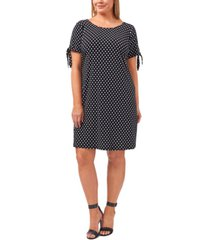 msk plus size dot-print tie-sleeve shift dress