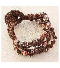 recycled paper and cotton beaded bracelet, 'earth's warmth' (guatemala)