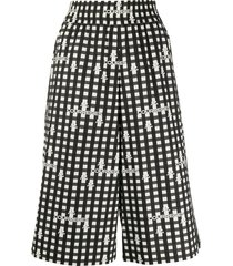 courrèges over-the-knee length check shorts - black