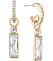 rachel rachel roy gold-tone crystal baguette-charm huggie hoop earrings