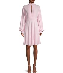 keyhole long-sleeve silk dress