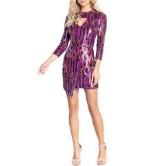 dress the population jayla asymmetric minidress, size medium in fuchsia multi at nordstrom