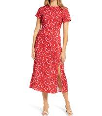 women's all in favor tie back midi dress, size medium - pink