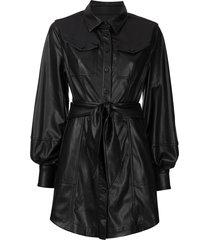 jonathan simkhai eve vegan leather mini dress - black