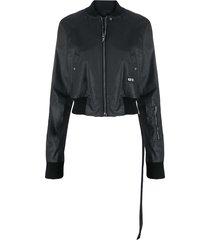 rick owens jacquard-waist coated bomber jacket - black