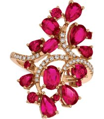 le vian certified passion ruby (4-1/4 ct. t.w.) & diamond (1/5 ct. t.w.) ring in 14k rose gold