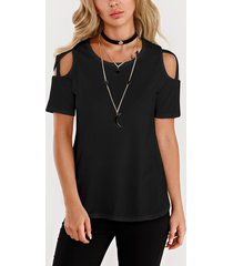 black cold shoulder short sleeves t-shirts