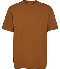 slhloosegilman220 ss o-neck tee s t-shirts short-sleeved brun selected homme