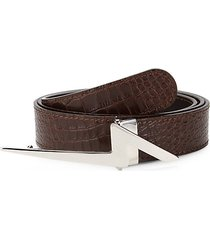 flash croc-embossed leather belt