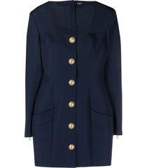 balmain short buttoned square neck dress - blue