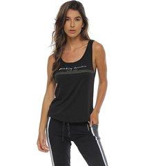 camiseta tiras espalda, color negro para mujer