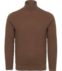 calvin klein toffee heather textured wool sweater 616288-288