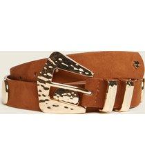 motivi cintura con placche in metallo donna marrone