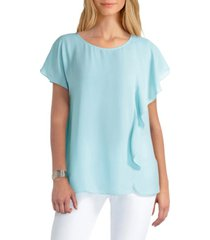h halston printed flutter-sleeve blouse