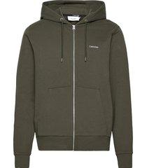 embroidery zip-through hoodie hoodie trui groen calvin klein