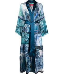 f.r.s for restless sleepers floral print kimono - blue