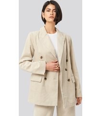 na-kd classic corduroy double breasted blazer - beige