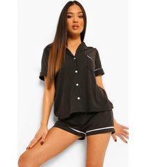 petite jersey pyjama set met shorts en knopen, black