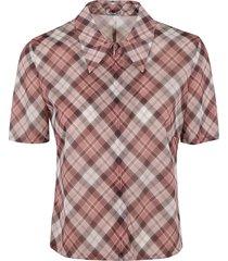 miu miu check patterned front zip top