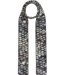 burberry fish-scale and sea print skinny scarf - black