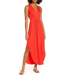 fraiche by j v-neck jersey dress, size small in red at nordstrom