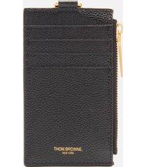 thom browne men's pebble grain zipped card wallet with tricolour ribbing - black