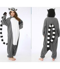 adult fleece unisex onesies ring-tailed lemur pajamas cosplay costume sleepwear