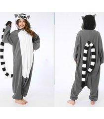 adult fleece unisex onesies ring-tailed lemur pajamas cosplay costume sleepwear