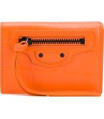 balenciaga neo classic mini wallet - orange