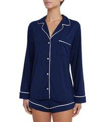 women's eberjey 'gisele' short pajamas, size large - blue