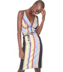 vestido colcci curto ajustado listrado azul/amarelo - azul - feminino - dafiti