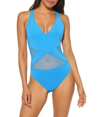 women's bleu by rob beattie mesh inset one-piece swimsuit, size 12 - blue