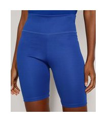 bermuda feminina mindset ciclista cintura super alta azul royal