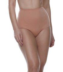calcinha alta modeladora com recortes lisa feminize - caramelo - feminino - dafiti