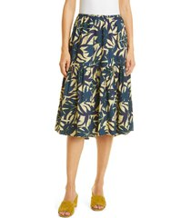 ba & sh wendy palm print cotton skirt, size large in bleu at nordstrom