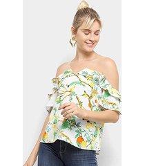 blusa heli ombro a ombro tule tropical feminina