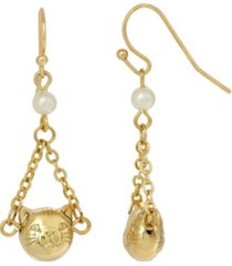 2028 women's 14k gold dipped cat face with imitation pearl chain drop wire earrings
