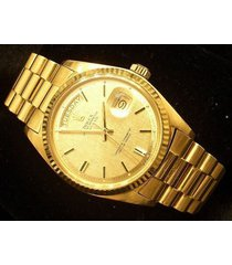 mens rolex solid 18kt 18k yellow gold day date president watch w/linen dial 1803