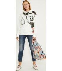 hooded cotton illustrated sweatshirt - white - xl