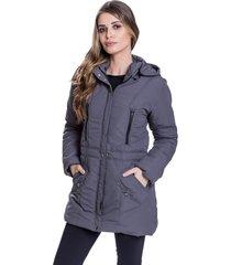 jaqueta sobretudo acolchoado chillan bolso com zãper capuz removãvel cinza - cinza - feminino - poliã©ster - dafiti