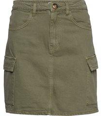 cargo denim skirt kort kjol grön gina tricot