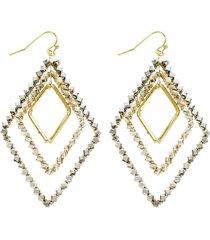 women's panacea silver & grey crystal layered drop earrings