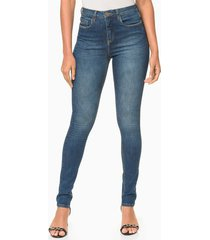 calça jeans five pockets jegging high - azul médio - 40