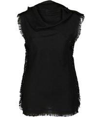 black viscose blend tank top
