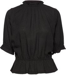 camila solid blouses short-sleeved zwart arnie says